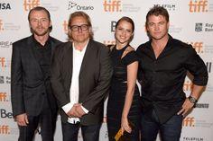 Simon Pegg, Kriv Stenders, Luke Hemsworth, and Teresa Palmer at an event for Kill Me Three Times (2014)