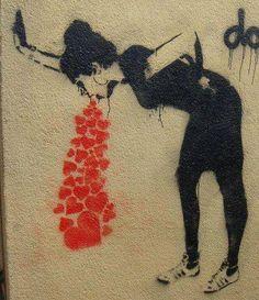 Have I mentioned I love Banksy? A Banksy tattoo would be awesooooommmmeeee. Love sick lol so dope Street Art Graffiti, Street Art Utopia, Art Amour, Berlin Street, Stencil Graffiti, Stencil Art, Stenciling, Urbane Kunst, Grafiti