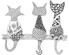 It's Simple: Zen Doodle and Coloring Are Fun! - Cloth Paper Scissors - Zentangle art by Sue Brassel, featured in a coloring book for adults Cat Coloring Page, Coloring Book Pages, Zentangle Drawings, Zentangle Patterns, Zentangles, Doodle Zen, Zen Colors, Frida Art, Cat Drawing