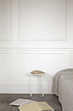 Yeh Wall Table is designed by Taiwan-based designer, Kenyon Yeh. He found the inspiration for this mobile side-table after observing a cheerleading practise at a neighbouring school in his hometown. Menu Table, Interior Exterior, Interior Design, Wall Trim, Wall Molding, Moldings, White Paneling, Wall Panelling, Ideas