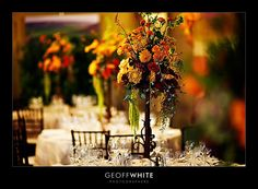 Centerpieces: I like the look of an elevated rod iron centerpiece for a rustic look.