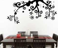 Vinyl Wall Decal Sticker Floral Tree Branch #OS_MG259 | Stickerbrand wall art decals, wall graphics and wall murals.