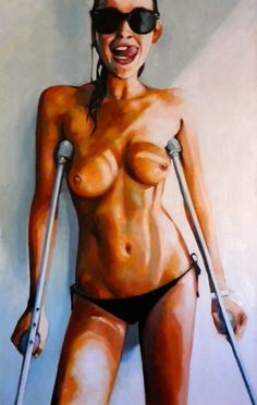 crutches Nude women on