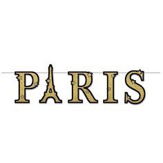 Eiffel Tower GLITTERED PARIS STREAMER LETTER BANNER Party Decoration  #Unbranded