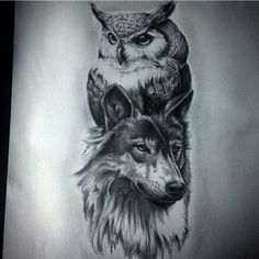 Image result for wolf and owl tattoo