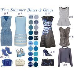 """""""True Summer - Blues & Greys"""" by lizzycb on Polyvore"""