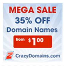 Domain Name Sale 35% off at CrazyDomains.com Cheap Web Hosting, Online Marketing, Names