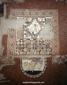 Hearts, crosses and swastikas feature in an ancient Roman mosaic at Lullingstone Roman Villa, Kent. (Englishheritageprints.com)