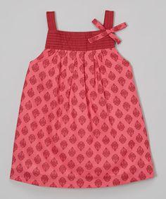 Look at this Rim Zim Kids Orange & Purple Damask Pin Tuck Dress - Infant, Toddler & Girls on #zulily today!