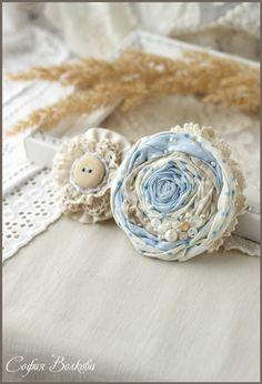"""Купить Броши """"Облако жемчуга"""" - нежно-голубой, текстильная брошь, роза из ткани, брошь-цветок"""