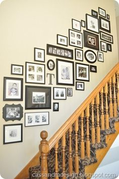 26 Modern Stairway Gallery Wall Decorating Ideas You Should Try Stairway Pictures, Gallery Wall Staircase, Picture Arrangements, Photo Arrangement, Frame Arrangements, Picture Wall Staircase, Picture Frames On The Wall Stairs, Wall Photos, Picture Walls