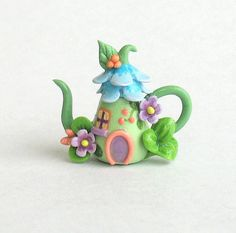 Miniature Fairy Blossom House on Hill Teapot by ArtisticSpirit, $29.50