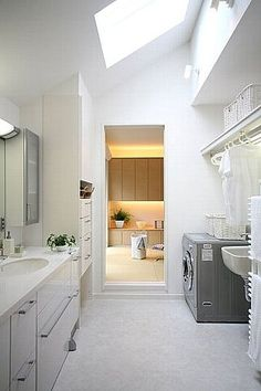 サニタリー【4.5帖】 Laundry Room Bathroom, Laundry Room Design, Vintage White Bedroom, Sister Home, Kitchen Utilities, Condo Living, Japanese House, Home Renovation, Ideal Home
