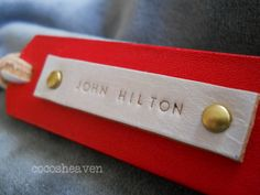 Custom Leather Luggage Tag  1 Tag   Cherry Red by cocosheaven, $25.00