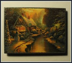"""""""Little House by the River"""" Christmas Magnet.  Home Décor magnet from my «Magnetic Force» collection. Made to order."""