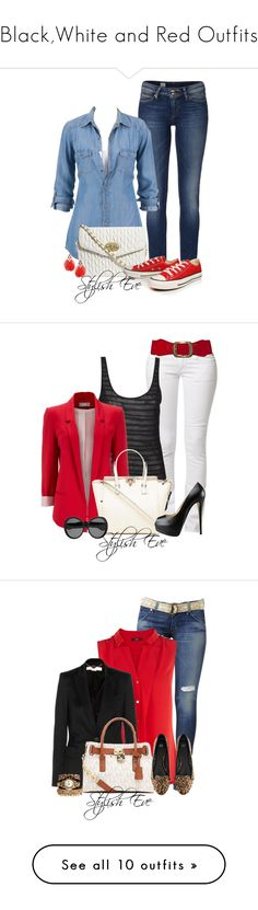 Black,White and Red Outfits by stylisheve on Polyvore featuring polyvore fashion style Tommy Hilfiger ASOS Converse Dorothy Perkins clothing Replay Agent Ninetynine Wallis Valentino Giuseppe Zanotti Yves Saint Laurent Hudson Jeans Oasis STELLA McCARTNEY Wet Seal Michael Kors H&M Geneva Emilio Pucci Soaked in Luxury Reiss IaM by Ileana Makri Comptoir Des Cotonniers MICHAEL Michael Kors Ray-Ban Belstaff Lipsy Amrita Singh Christian Louboutin Simply Silver Xhilaration Madewell American Eagle…