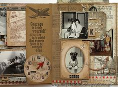 Tim Holtz Family Folio Tutorial, pg. 7 ~ These pages show the many different layers, pockets and embellishments that are available from Idea-ology.