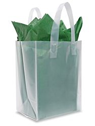 "Clear Frosty Shopper Bags - 8 x 5 x 10"", Cub S-7257C"