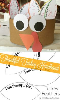 Thankful Turkey Headband printable to help keep the kids occupied while they wait for the Thanksgiving dinner. Cute and easy and kids will love it!
