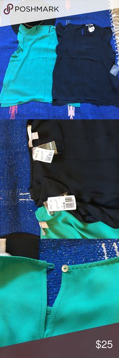 BNWT Forever 21 cap sleeve tops BNWT Forever 21 cap sleeve tops. Both are brand new with tags. One is a turquoise green color and the other is black. They have a ruffle cap sleeve and button hole closure in back. Forever 21 Tops Blouses