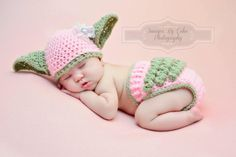 Baby Yoda hat and matching RUFFLE diaper cover SET is inspired by Star Wars and crocheted in a size newborn, 0-3m or 3-6m. This one in light pink