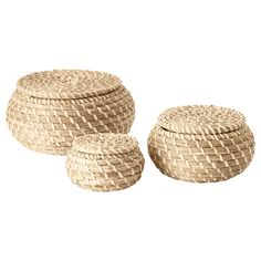 IKEA - FRYKEN, Box with lid, set of 3, , Seagrass has natural color variations which makes every basket unique.Each box is unique since it is handmade.