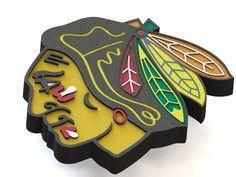 Chicago Blackhawks ice hockey team logo. #logo #icehockey #3Dmodel #ChicagoBlackhawks #NHL