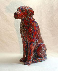 """""""Red Dog"""" is a three dimensional mosaic. I've used stained glass, copper bebes, red coral, Scottish clasps, and found objects for char Mirror Mosaic, Mosaic Art, Mosaic Glass, Stained Glass, Mosaic Animals, Glass Animals, Mosaic Crafts, Mosaic Projects, Sculpture Painting"""