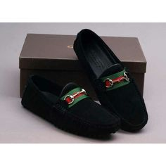 GUCCI Men's Shoes Gucci Leather Horsebit Loafer.  Splash of color