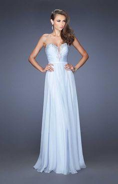 La Femme 20027 Pale Blue V Neck Full Length Prom Dress Sale