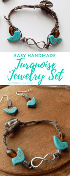 You'll have to be careful when wearing this gorgeous easy handmade turquoise jewelry set because your friends will ask you to make them a set too! Metal Jewelry, Jewelry Sets, Jewelry Making, Handmade Jewelry, Unique Jewelry, Diy Jewellery, Turquoise Jewelry, Turquoise Color, Native American Jewelry