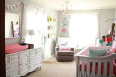 Gray, Coral and Aqua Nursery - what a sweet space!