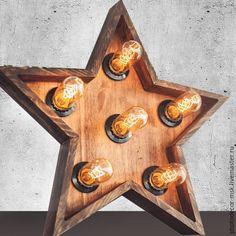 Купить Звезда в стиле лофт из дерева - коричневый, звезда, светильник, светильник ручной работы