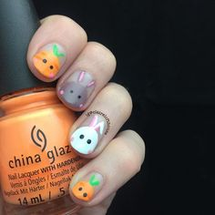 Day 16 bunnies or chicks China Nails, Easter Nails, Claire, Bunnies, Nail Art, Glamour, Day, Instagram, Nail Polish