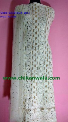 Chikankari suit with mukaish work, For orders whatsapp at Lucknowi Suits, Chikankari Suits, Work Suits, Pure Products, Embroidery, Work Outfits, Work Jumpsuits, Drawn Thread, Cut Work
