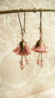 25 off Earrings Pink felt and Swarovski flower by VerdigrisGifts