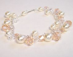 Ivory cream and light peach bridesmaid bracelet