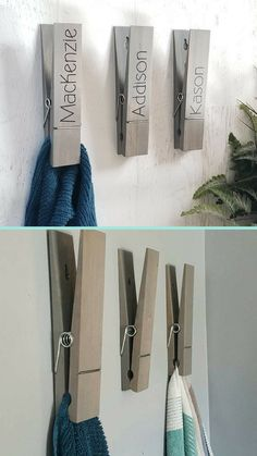 "So fun! A jumbo clothespin for hanging towels. Clothespin Towel Holder, Bathroom Decor, Towel Hook, Kitchen Decor, Laundry Room Decor, Farmhouse Decor, 9"" Clothespin, Photo Holder #ad"