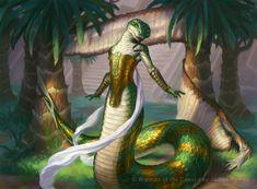 MtG Art: Naga Vitalist from Amonkhet Set by James Ryman - Art of Magic: the Gathering Magic The Gathering, Fantasy Kunst, Fantasy Rpg, Character Concept, Character Art, Humanoid Creatures, Mtg Art, Snake Art, Tribute