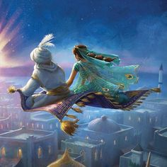 Via Look at that beautiful Aladdin and Jasmine painting flying on the magic carpet of the Live… Princesa Disney Jasmine, Aladdin Et Jasmine, Disney Princess Jasmine, Disney Princess Art, Film Disney, Arte Disney, Disney Magic, Disney Movies, Film Aladdin