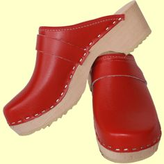 Traditional red clogs from Tessa Clogs