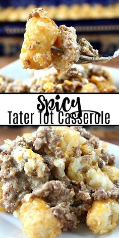 Spicy Tater Tot Casserole is the classic tater to casserole with a kick. Barbecue Recipes, Crockpot Recipes, Snack Recipes, Cooking Recipes, Snacks, Tater To Casserole, Casserole Recipes, Good Food, Yummy Food