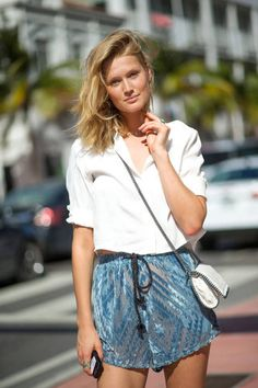 white shirt, blue shorts. Summer women fashion outfit clothing style apparel @roressclothes closet ideas
