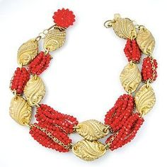 """Great and gutsy Miriam Haskell red and gold statement necklace. Signed """"MIRIAM HASKELL"""" on the back of clasp. Coral Jewelry, Jewelry Art, Beaded Jewelry, Jewelry Design, Beaded Necklace, Coral Bracelet, Fashion Jewelry, Vintage Costume Jewelry, Vintage Jewelry"""