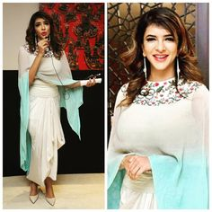 Lakshmi Manchu in an outfit by Anamika Khanna and jewellery by Suhani Pittie for the video launch of Teach for Change initiative Picture: Ins Pakistani Dresses, Indian Dresses, Indian Outfits, Western Outfits, Nice Dresses, Casual Dresses, Fashion Dresses, Smart Attire, Lakshmi Manchu