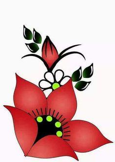 Simple Flower Design, Simple Flowers, Star Painting, One Stroke Painting, Flower Henna, Flower Nail Art, Rock Flowers, Notebook Art, Beadwork Designs