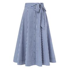 Cotton/Elastane Gingham Full Skirt. In an A-line silhouette, this skirt features a button-up front, waist tie and side pockets. Available in Blue Water Gingham as shown.