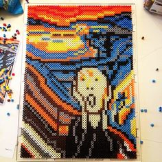 The Scream painting perler bead art by taytaymantaray