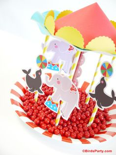 Circus Birthday Party Ideas   DIY Carousel Candy Centerpiece by Bird's Party