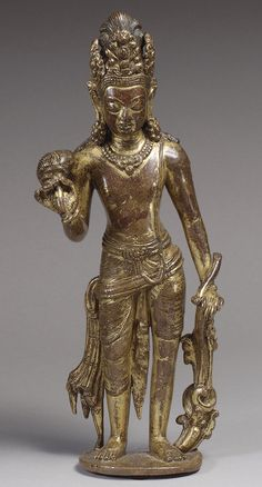 Standing bodhisattva, 8th–9th century Nepal Gilt copper alloy; H. 11 7/8 in. (30.2 cm)